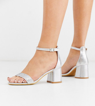 Simply Be extra wide fit rhinestone sandals with block heel in silver