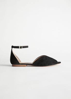 And other stories Suede Ankle Strap Ballerina Flats