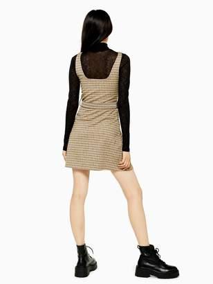 Topshop Jacquard Belted Pinafore Dress - Tan