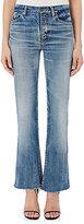 Saint Laurent Women's High-Waist Flared Crop Jeans-BLUE