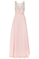 Quiz Pink Chiffon Embellished High Neck Tulle Maxi Dress