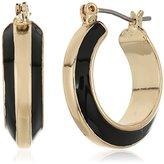 """Anne Klein Jet Basics"""" Gold-Tone Jet Click It Hoop Earrings"""