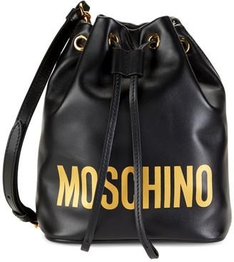Moschino Logo Leather Crossbody Bucket Bag