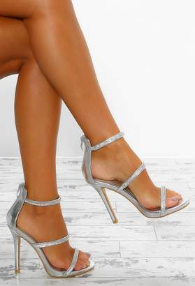 Pink Boutique Deep Thoughts Silver Diamante Strap Stiletto Heels