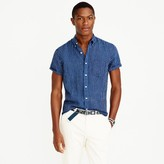J.Crew Short-sleeve shirt in indigo striped Irish linen
