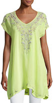 Johnny Was Suavecita Long V-Neck Embroidered Tunic, Plus Size