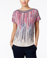 JM Collection Petite Embellished Printed Dolman-Sleeve Top, Only at Macy's
