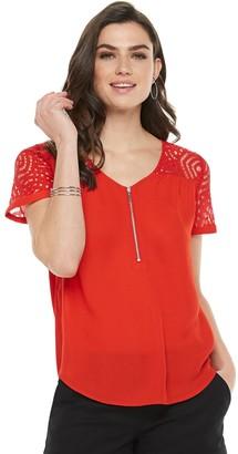 Apt. 9 Women's Lace Zipper-Neck Top