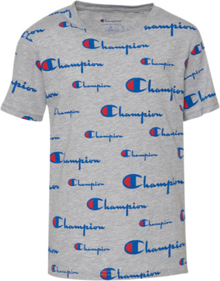 Champion AOP Script Logo T-Shirt - Oxford Heather