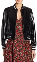 Alice + Olivia Demia Embroidered Bad Ass Leather Bomber Jacket