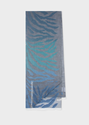 Women's Grey And Blue Zebra Gradient Fil Coupe Cotton Scarf