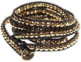 Beautiful Silver Jewelry BSJ Eldorado Goldtone Bead Dark Brown Leather 5x Wrap 39 Inch Cuff Bracelet