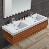 "Diamond Stone Solid Surface 61"" Double Bathroom Vanity Top Empire Industries"