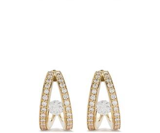 Georg Jensen 18kt yellow gold Halo brilliant cut diamond hoop earrings