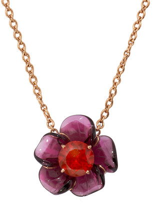 Irene Neuwirth One-Of-A-Kind Carved Pink Tourmaline and Fire Opal Tropical Flower Necklace - Rose Gold