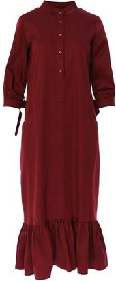 Bluzat Calf Length Straight Line Dress With A Frilled Hem