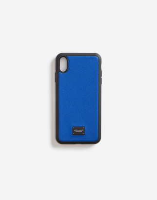 Dolce & Gabbana Iphone Xs Max Cover In Dauphine Calfskin With Branded Plate