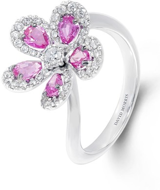 David Morris White Gold, Diamond and Pink Sapphire Miss Daisy Ring