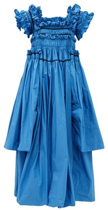 Molly Goddard Robby Frilled And Hand-smocked Taffeta Gown - Blue