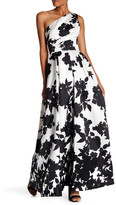 Carmen Marc Valvo Floral One-Shoulder Pleated Gown