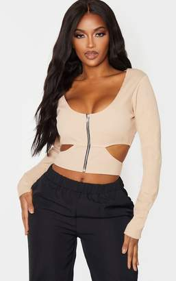 PrettyLittleThing Shape Nude Jumbo Rib Zip Detail Cut Out Crop Top