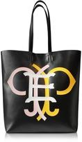 Emilio Pucci Large Multicolor Logo Black Leather Tote Bag