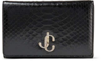 Jimmy Choo VARENNE CLUTCH Black Python Clutch Bag with Crystal JC logo