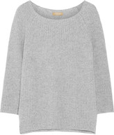 Michael Kors Ribbed Cashmere And Cotton-blend Sweater - Gray