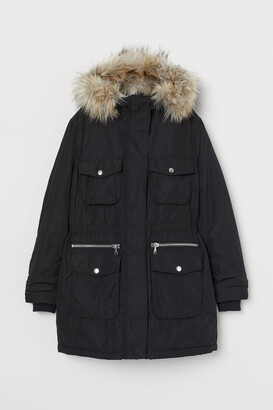 H&M Padded Parka with Hood - Black