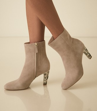Reiss Sophia - Suede Ankle Boots With Snake Detail in Taupe