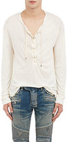 Balmain Men's Lace-Up Sweater-WHITE