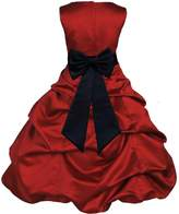 ekidsbridal Wedding Pageant Christmas Apple Red Flower Girl Dress gown Tiebow 808t