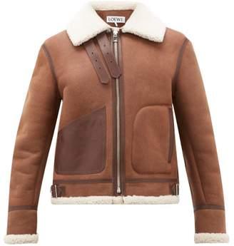 Loewe Shearling Aviator Jacket - Mens - Dark Brown