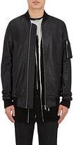 Rick Owens Men's Torrence Leather Bomber Jacket-BLACK