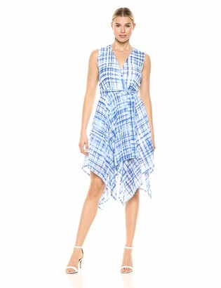 Nine West Women's Faux Wrap Dress with Handkerchief Hem