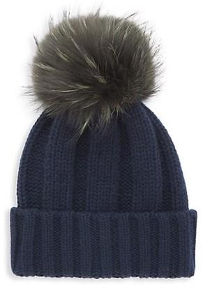 Raffaello Bettini Fox Fur Pom-Pom Cabled Cashmere Beanie