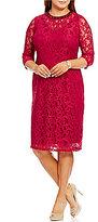 London Times Plus Beaded-Neck Lace Sheath Dress
