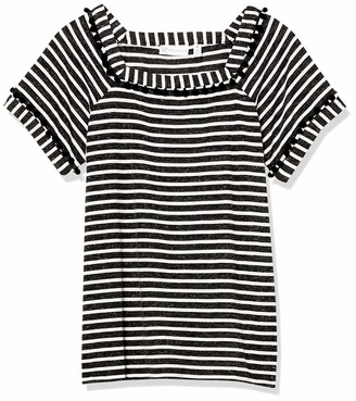 Rafaella Women's Striped Short Sleeve Square Neck Tee Shirt