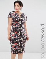 Club L Plus Dress With Open Neck In Floral Print
