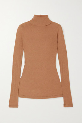 LVIR Tencel And Wool-blend Turtleneck Top - Sand