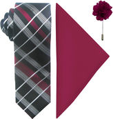 Jf J.Ferrar JF Fashion Grid II Tie, Pocket Square and Lapel Pin Set