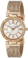 Anne Klein Women's AK/2144MPRG Swarovski Crystal Accented Rose Gold-Tone Chain Bracelet Watch