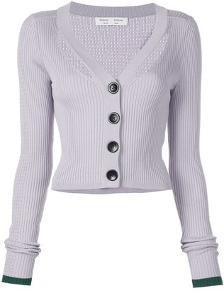 Proenza Schouler White Label Fine Gauge Rib Cropped Knit Cardigan