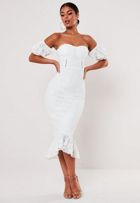 Missguided White Lace Bardot Fishtail Midi Dress