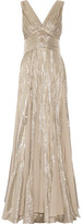 Oscar de la Renta Pleated Chiffon-paneled Silk-blend Lamé Gown - Silver