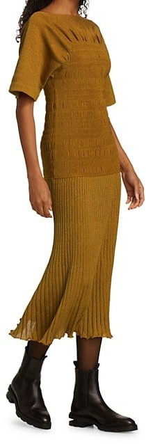 Thumbnail for your product : Proenza Schouler Smocked Boatneck Knit Midi Dress