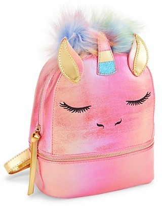Under One Sky Girl's Faux Fur-Trimmed Faux Leather Unicorn Backpack