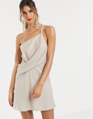 Asos Design DESIGN mini dress with one shoulder in satin-Cream