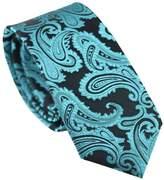 Herobehavior Ties With Turquoise Green Paisley Necktie Skinny Neck Tie 7cm