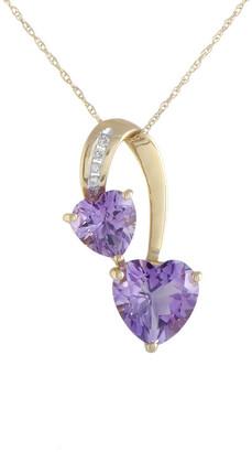Generic Gemstones 14K Diamond & Amethyst Hanging Hearts Necklace